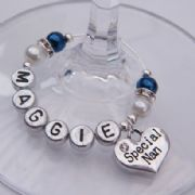 Special Nan Personalised Wine Glass Charm - Elegance Style